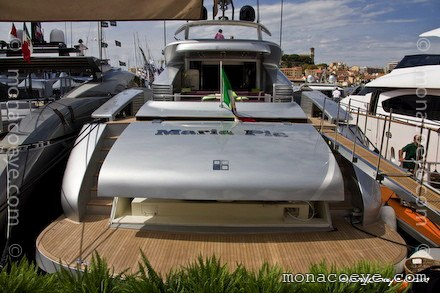 Builder: AB Yachts Top speed: 53 knots. Photo: monacoeye • Cannes Boat Show ...