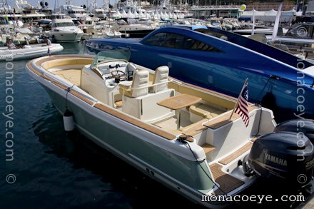A Chris Craft Catalina 29 Sun Tender on display at the Monaco Yacht Show.