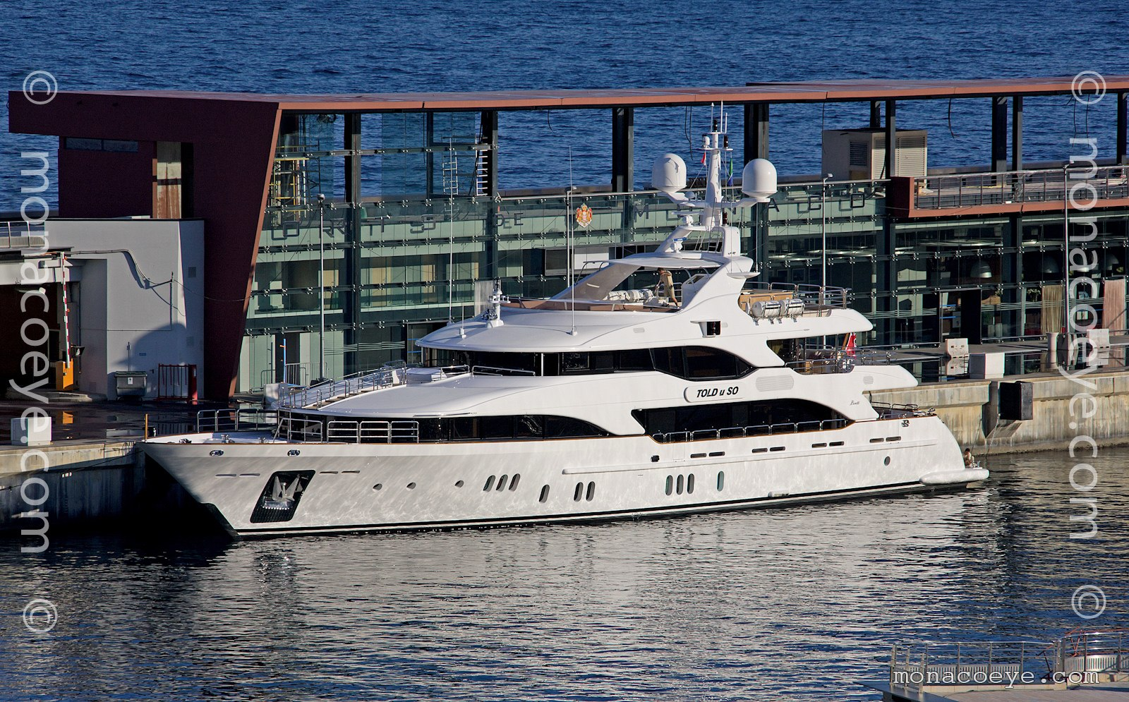 Told U So, 2011 design from Benetti and Stefano Righini. Turned up for the 2011 Grand Prix. New cruise terminal behind.