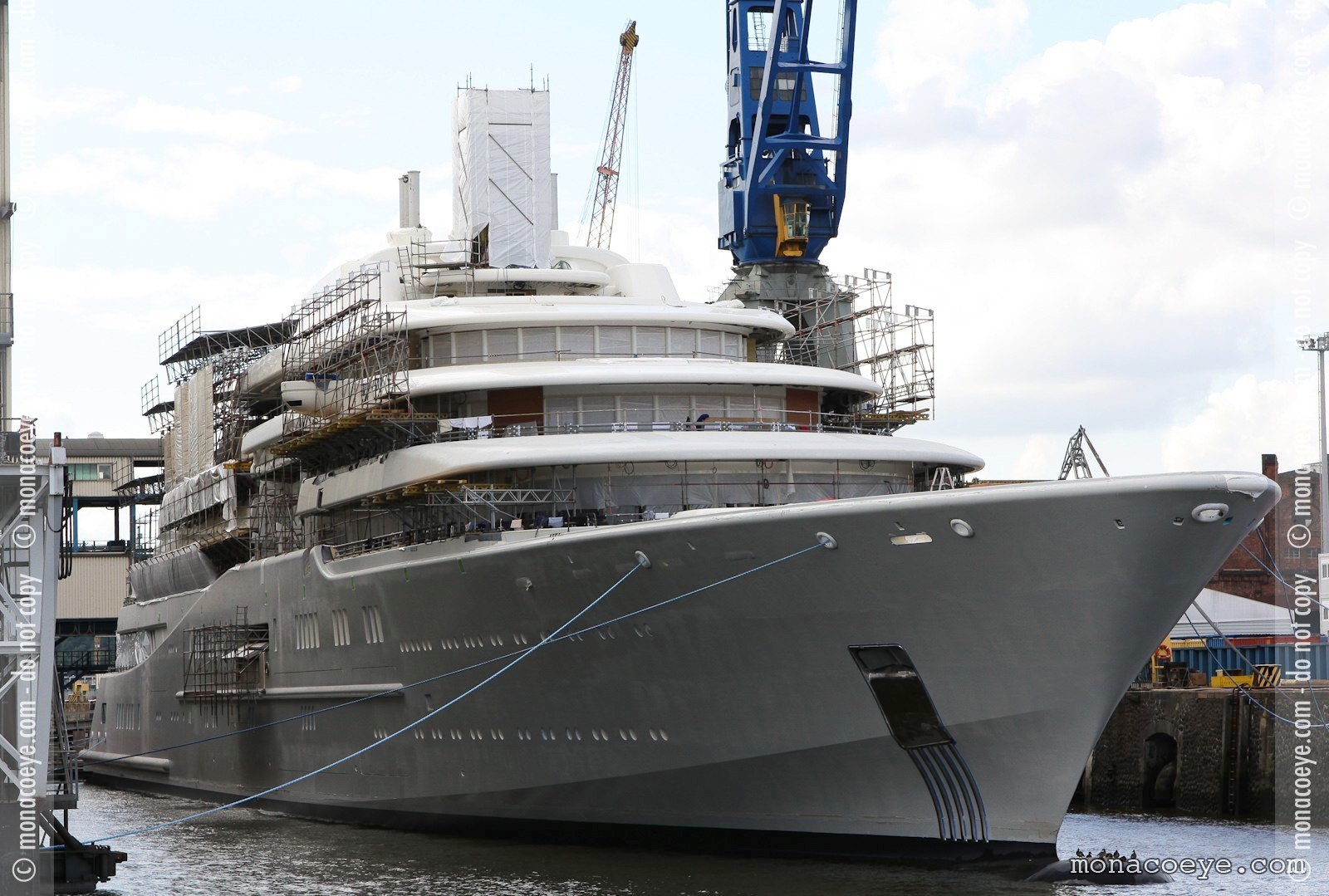 Eclipse - finishing touches put on Roman Abramovich new yacht, covered with scaffolding