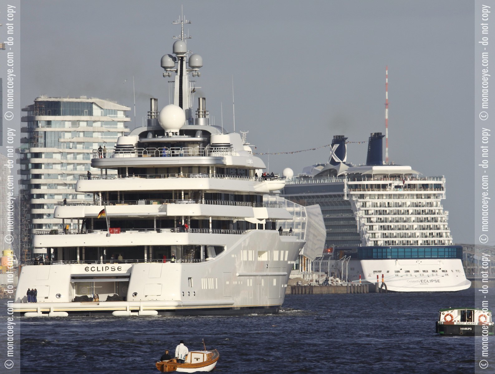 Roman's Abramovich's new yacht Eclipse crosses recently launched cruise ship Celebrity Eclipse