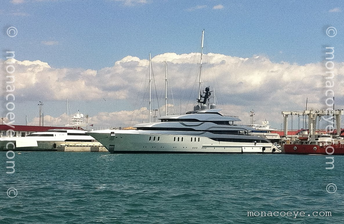 Tango, 2011 design from Feadship, De Voogt and Eidsgaard Design. In Barcelona on maiden voyage.