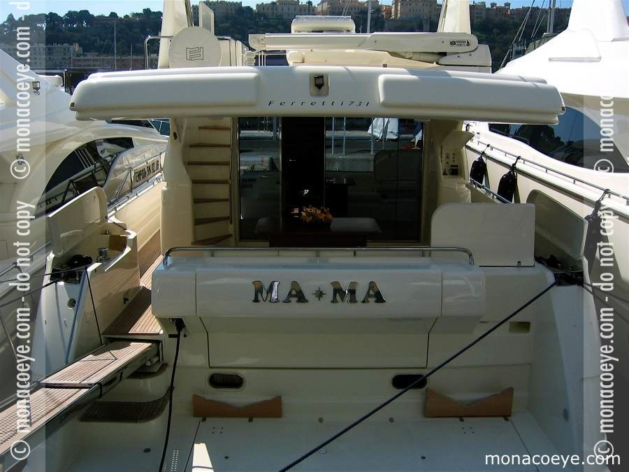 Yacht model: Ferretti 731. Name: Mama Length: 23 m • 73 ft