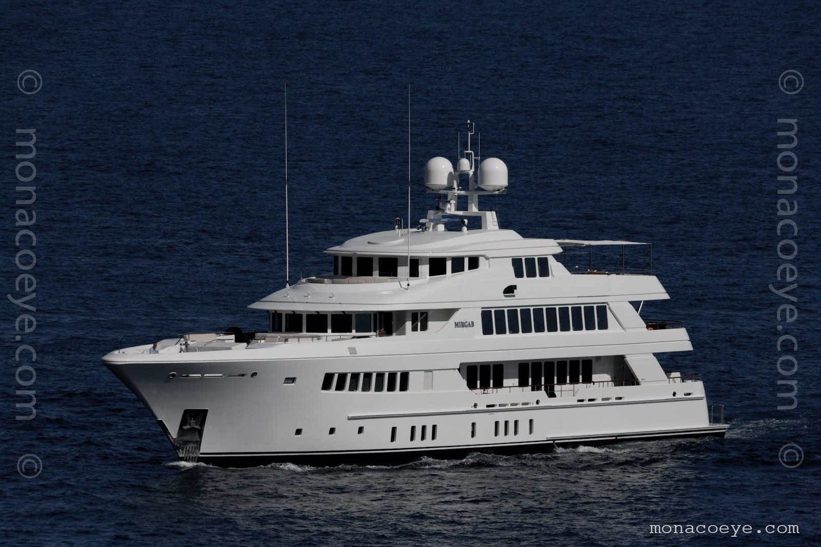 Mirgab VI yacht. Built by Hakvoort, 2009, 49 metres. The naval architect was Diana Yacht Design and she was designed by Glade Johnson