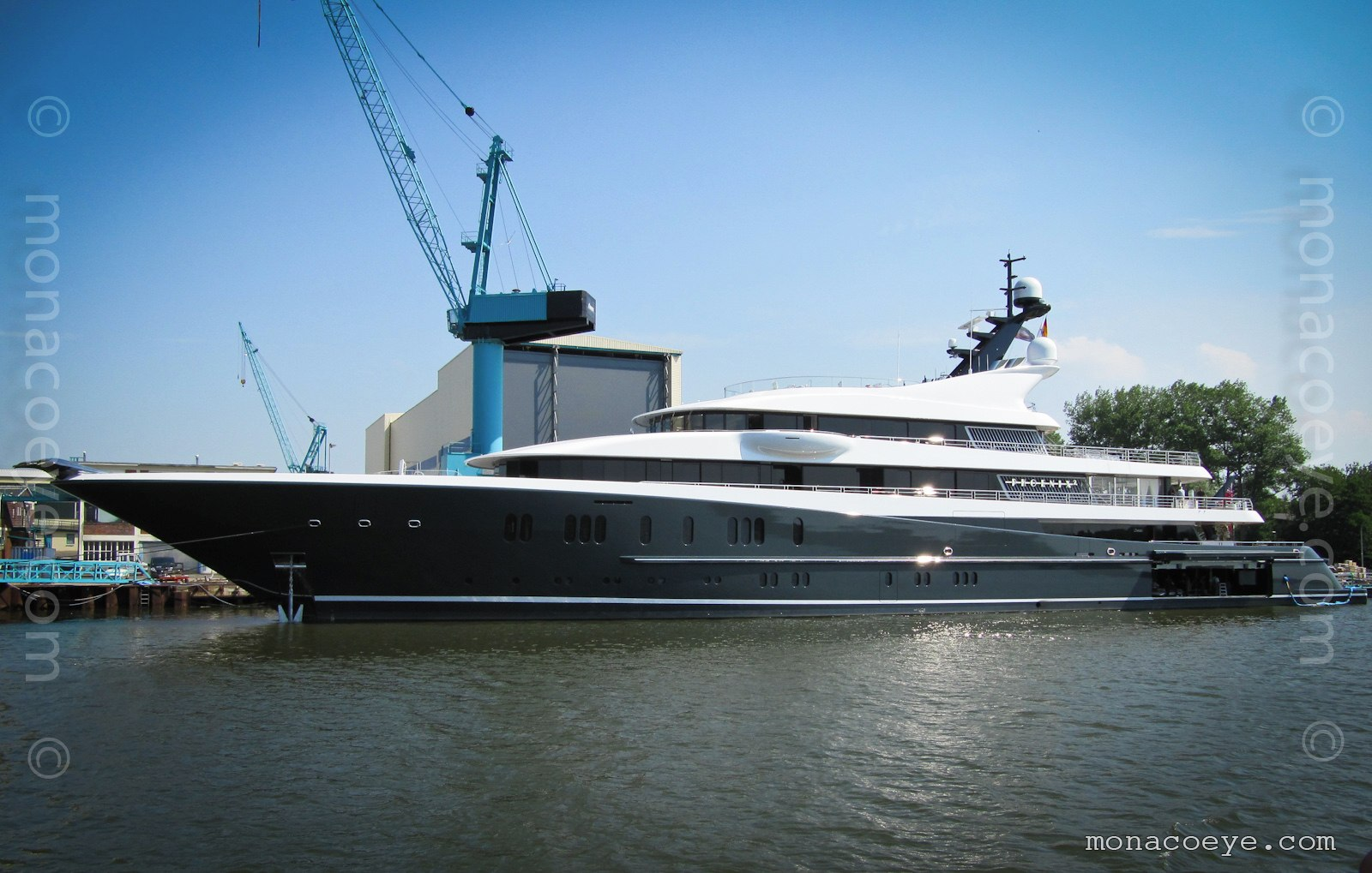 Phoenix 2 yacht. Built by Lurssen, #13659, 2010, 75 metres. Designed by Andrew Winch