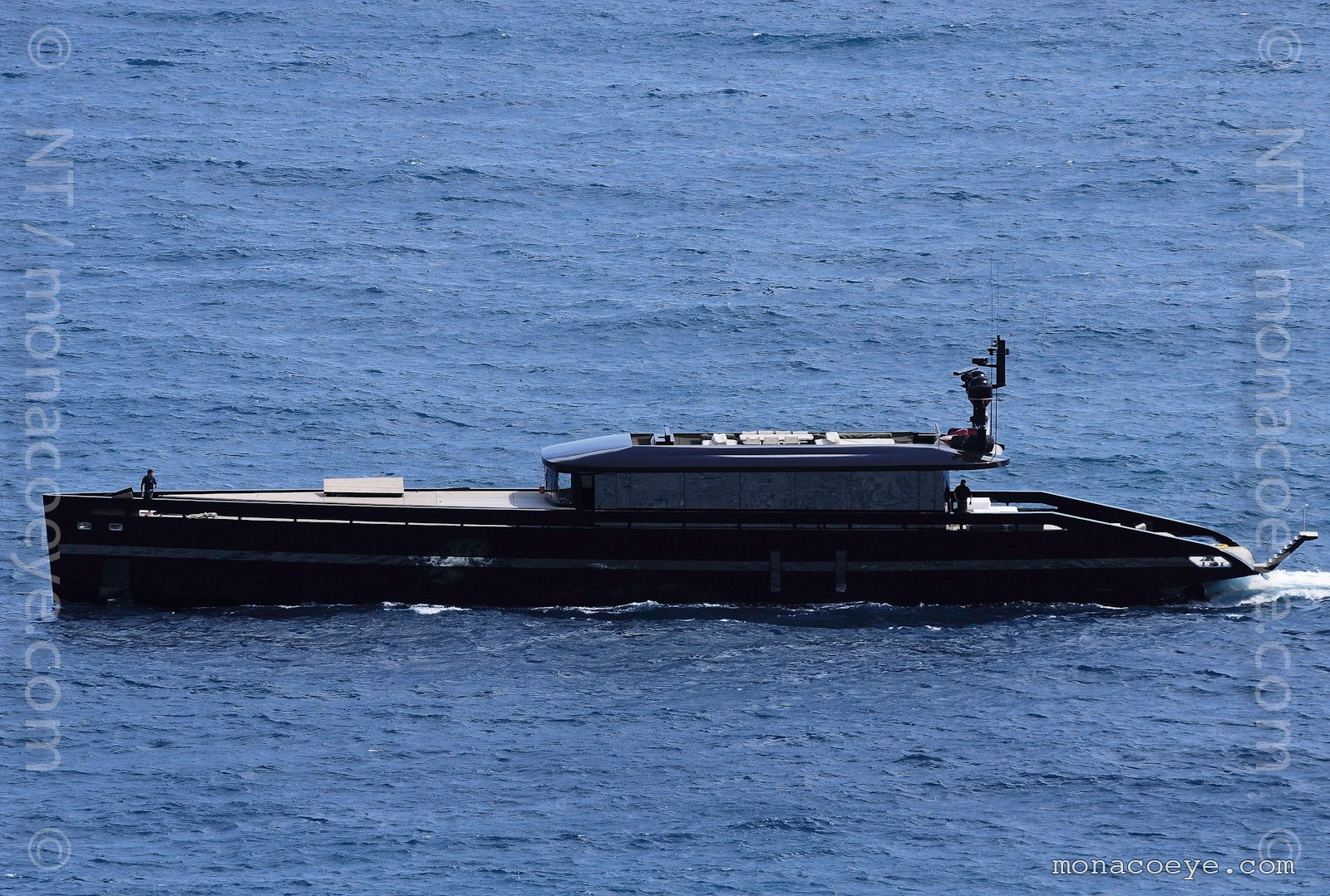 H2Ome - the new 45m gas turbine yacht from MMGI. H2Ome has a top speed of 40 knots (75 kmph), a range of 1000 nautical miles at 18 knots, an aluminium hull and can carry 10 passengers and 7 crew. She costs about 150,000 euros per week to charter