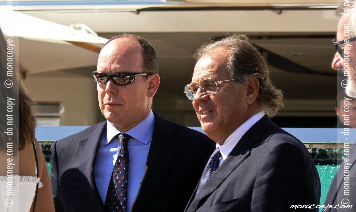 Prince Albert on Alfa Nero with owner and Oceanco boss Theodore Angelopolous