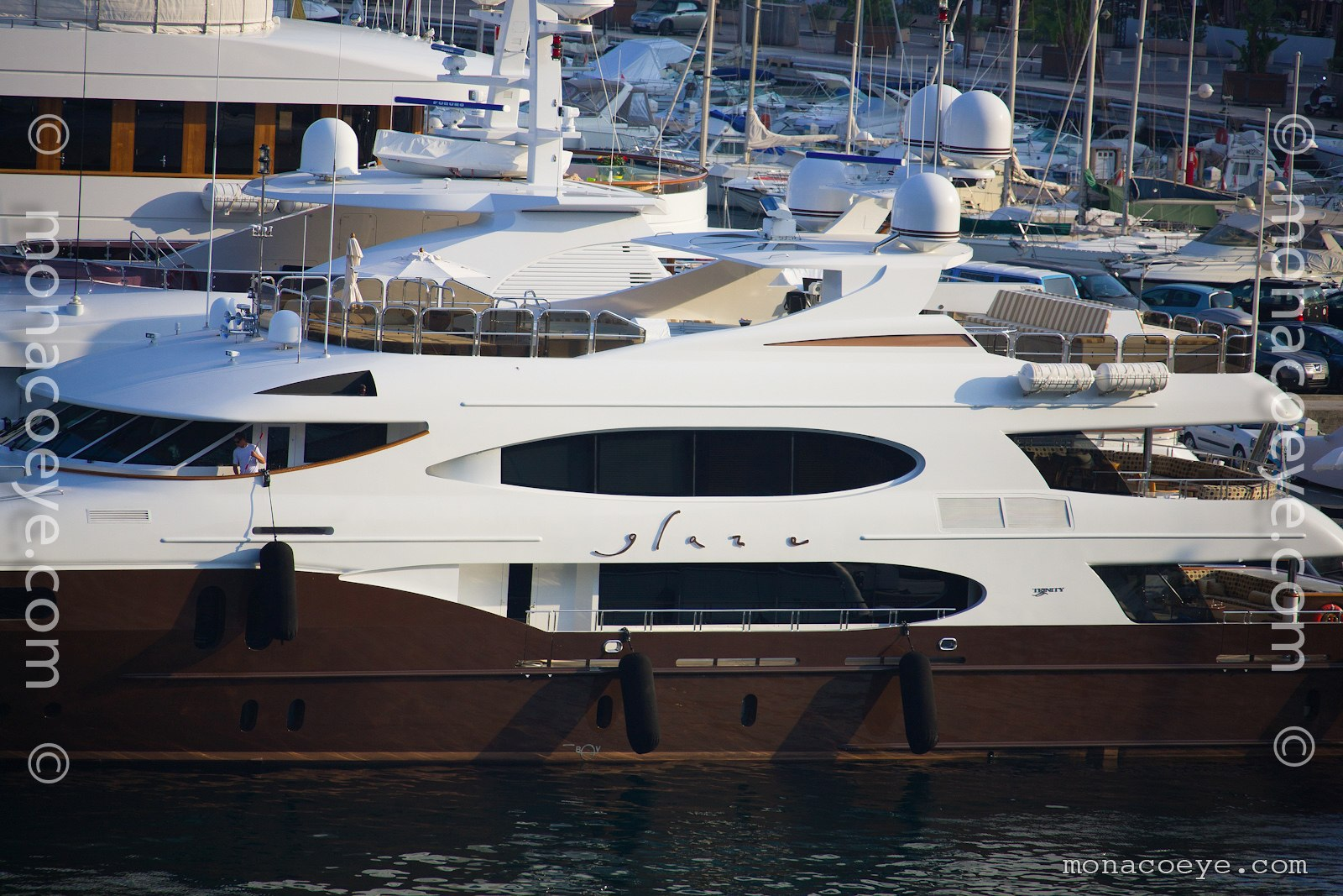 Glaze, 2007 design from Trinity Yachts. Ex Lady Michelle. Now with maroon hull.